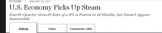 WSJ headline, January 28, 2012